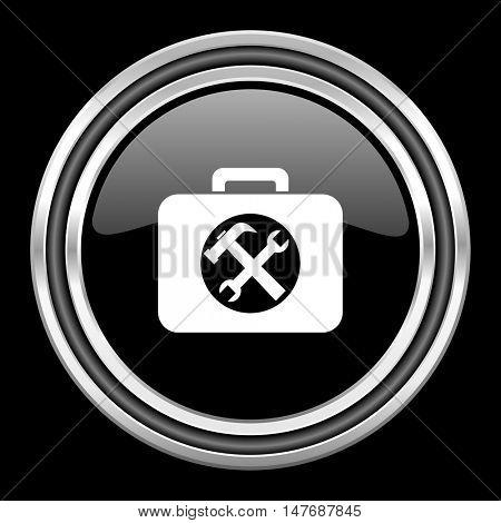 toolkit silver chrome metallic round web icon on black background