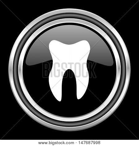 tooth silver chrome metallic round web icon on black background