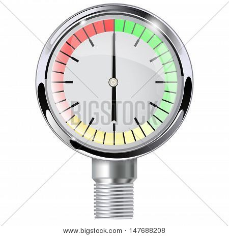 Measuring gauge with empty dial. Manometer. Vector illustration isolated on white background