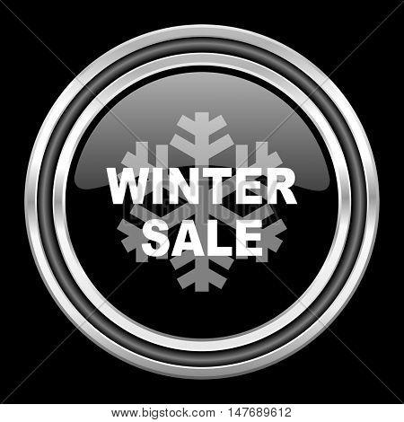 winter sale silver chrome metallic round web icon on black background
