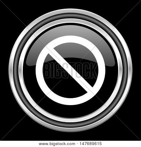 access denied silver chrome metallic round web icon on black background