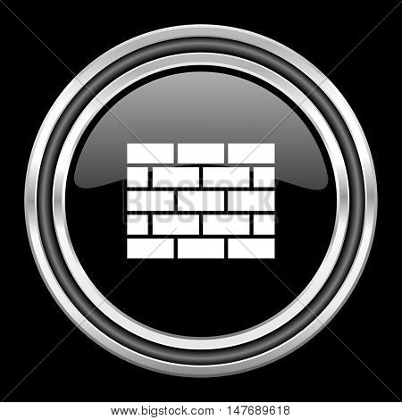 firewall silver chrome metallic round web icon on black background