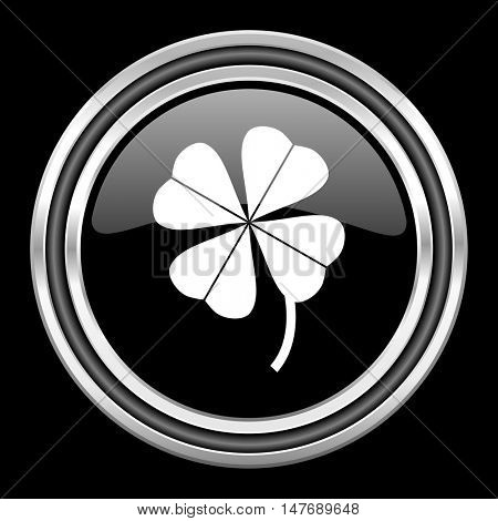 four-leaf clover silver chrome metallic round web icon on black background