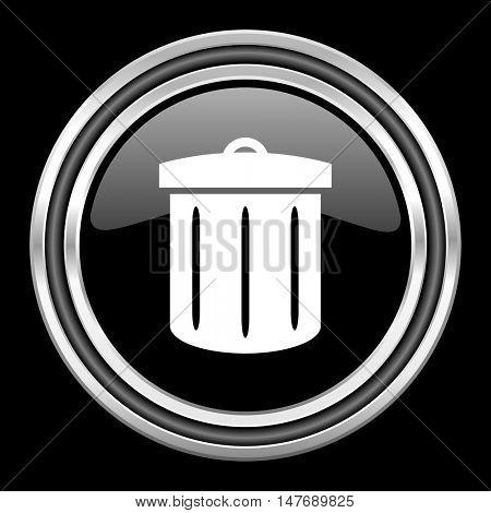 recycle silver chrome metallic round web icon on black background