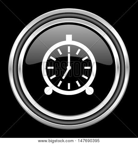 alarm silver chrome metallic round web icon on black background