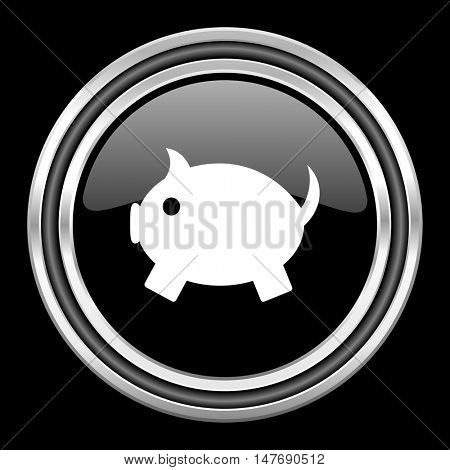 piggy bank silver chrome metallic round web icon on black background