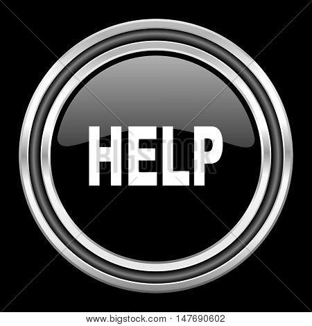 help silver chrome metallic round web icon on black background