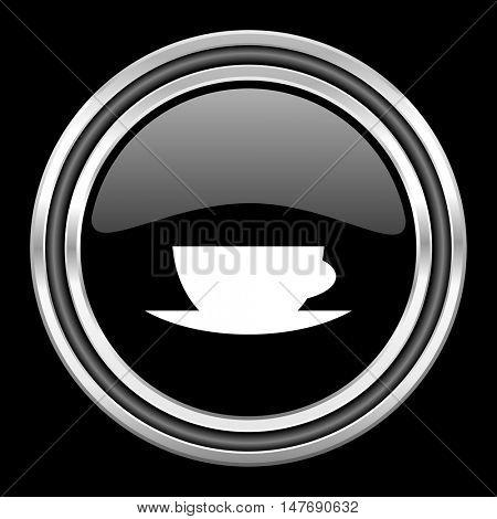 espresso silver chrome metallic round web icon on black background
