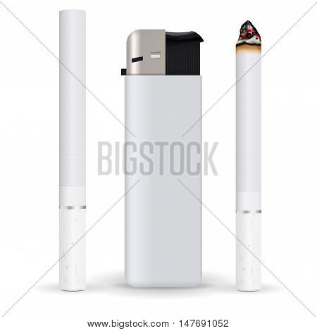 Cigarette lighter. New and burning cigarette. Vector illustration isolated on white background