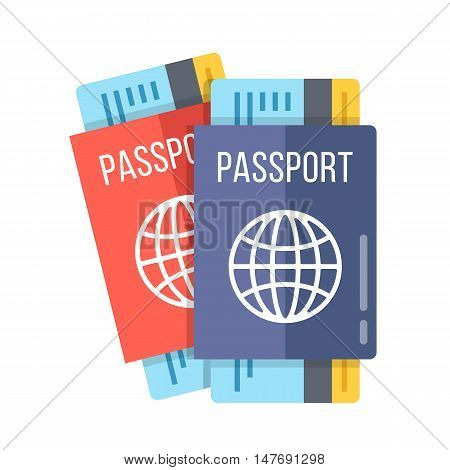 Two passports and boarding passes. 2 different red and blue passports with airline tickets inside isolated on white background. Modern premium quality flat design vector illustration