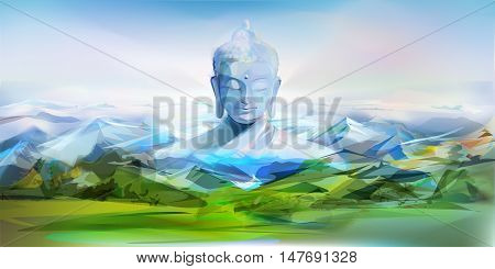 Buddha, mountains and green hills. Vector landscape