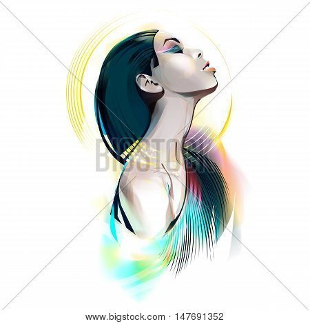 The girl in the image of the Egyptian goddess. Watercolor vector illustration