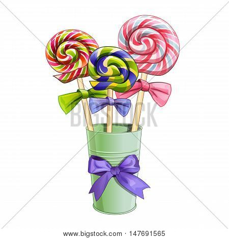 Rainbow swirl multi-colored lollipops. Isolated vector illustration