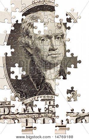 Puzzle Jefferson on a $2 bill