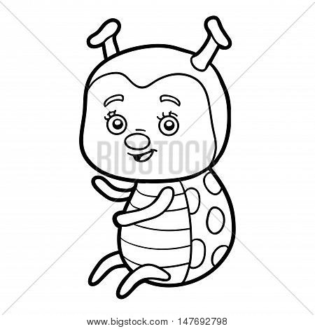 Coloring book for children, colorless insect Ladybug