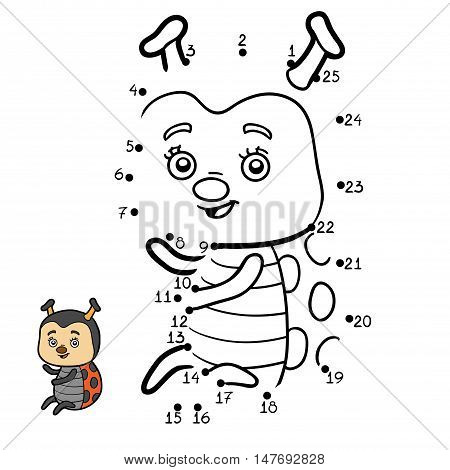 Numbers game, education dot to dot game for children, Ladybug