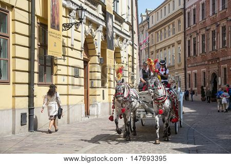 POLAND, KRAKOW - MAY 27, 2016: Krakow is the second largest and one of the oldest cities in Poland. Horse carriages in oldtown in a spring day.