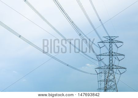 Huge high volt electric post with blue sky