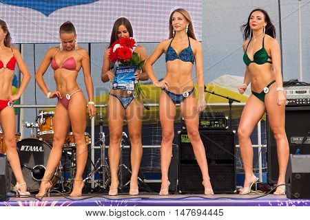 RUSSIA, ZELENOGRADSK - SEPTEMBER 03, 2016: Open festival bikini Miss Fitness in the resort town of Zelenogradsk (Cranz). As part of the Citi Day celebration.