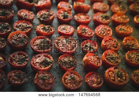 Sun Dried tomatoes in the baking tray
