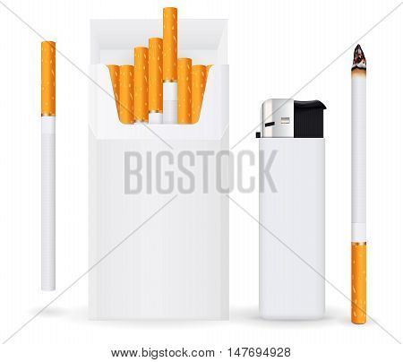 Pack of cigarettes single burning cigarette lighter. Vector illustration isolated on white background