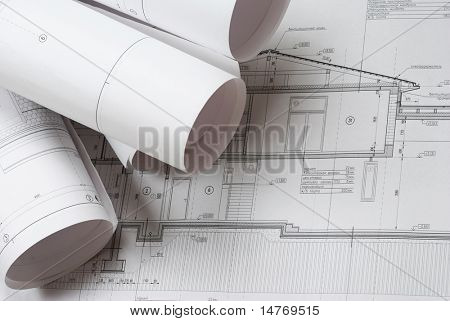 House plan blueprints roled up