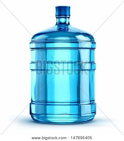 3D illustration of the blue 19 liter or 5 gallon plastic water bottle container isolated on white background