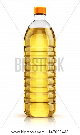 3D illustration of plastic bottle of yellow refined vegetable cooking oil or organic fat isolated on white background with reflection effect