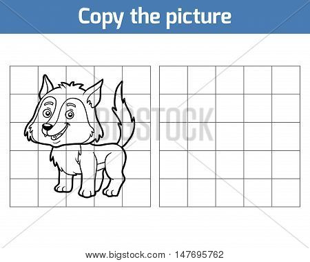 Copy the picture, education game for children, Wolf