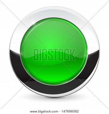 Round button with chrome frame. Green icon. Vector illustration isolated on white background