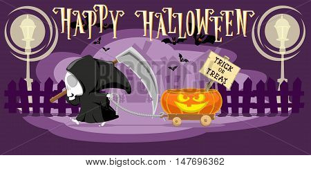 Funny little death with a large scythe driving small cart with Halloween pumpkin on the street of the town. Cartoon style. Concept design for banners posters or cards. Vector illustration