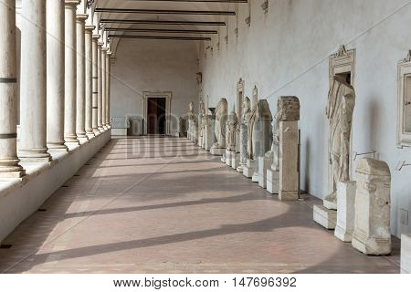 ROME, ITALY - JUNE 12, 2015: Corridor in the baths of Diocletian (Thermae Diocletiani) in Rome. Italy