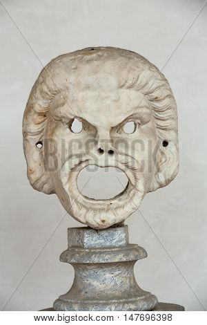ROME, ITALY - JUNE 12, 2015: the marble-head scuplture in the baths of Diocletian (Thermae Diocletiani) in Rome. Italy