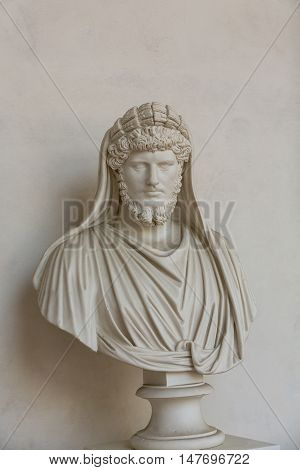 ROME, ITALY - JUNE 12, 2015: Ancient bust of the man in the baths of Diocletian in Rome. Italy