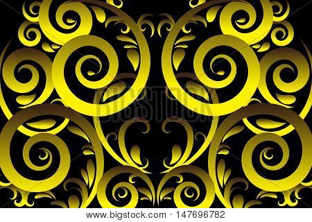 Gold color abstract swirl vector illustration background