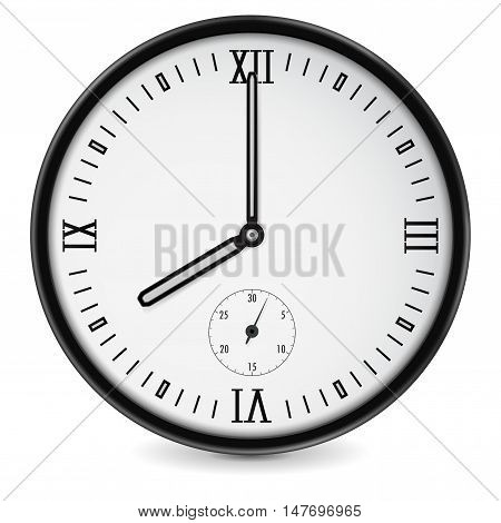 Round clock. Simple style. Eight o'clock. Vector illustration isolated on white background