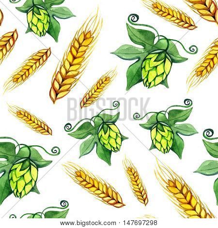Seamless watercolor pattern with hops flower, leaf and malt wheat