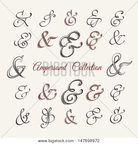 Collection of hand drawn ampersands in variuos styles. Vector illustration.