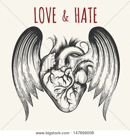 Love & Hate tattoo. Human heart with wingsand wording. Vector illustration