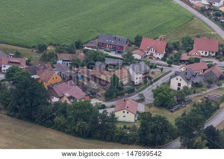 aerial view of Goegglbach in Schwandorf in bavaria