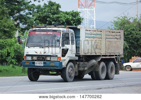 CHIANGMAI, THAILAND - AUGUST 18, 2016: Private Old Mitsubishi Dump Truck. On road no.1001 8 km from Chiangmai city.
