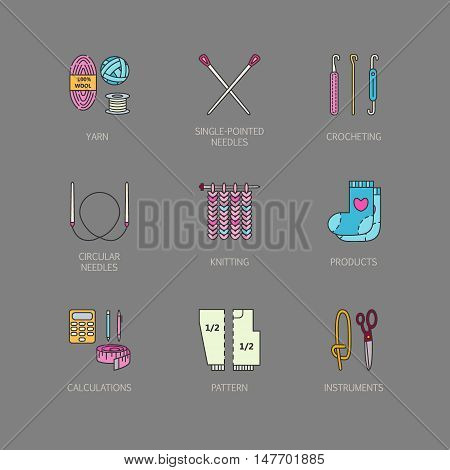 Knitting. Modern vector line icons set of knitting and crochet. Knitting elements: yarn knitting needle knitting hook pin and others. Outline knitting symbol collection invitations notes stores