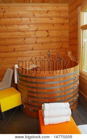 Custom built wooden sauna interior