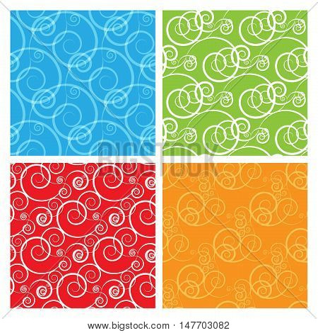 vector seamless patterns set. Curly colorful vector swatches. Elements for your design. Eps10
