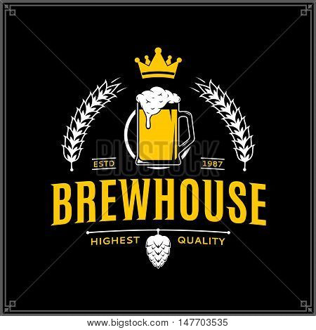 Vector White And Yellow Vintage Brewhouse Logo
