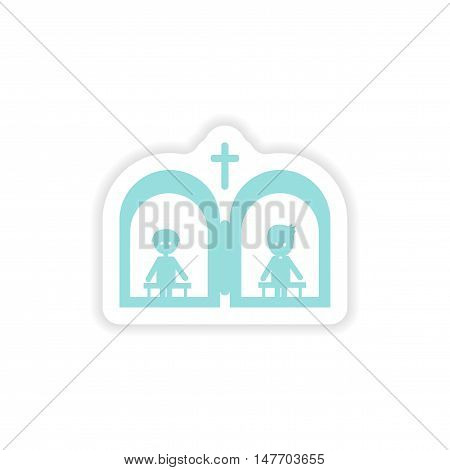 paper sticker on white background  Christian confessions
