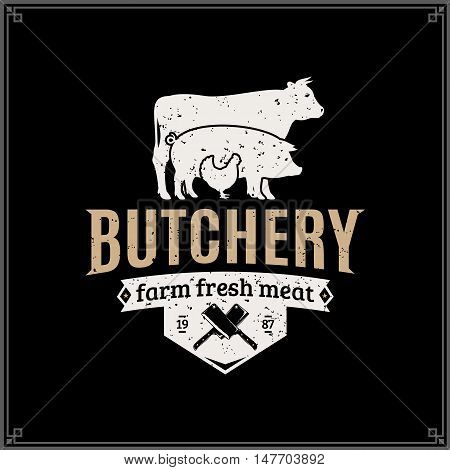 Retro Styled Butcher Shop Logo. Meat Label Template With Farm Animals Silhouettes And Knives