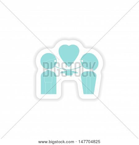 paper sticker on white background  lovers eating