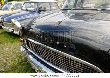 Kharkiv Ukraine - May 22 2016: Close up of retro car black Ford Consul Mark II manufactured in 1957 is presented at the festival of vintage cars Kharkiv Retro Rally - 2016 in Kharkiv Ukraine on May 22 2016
