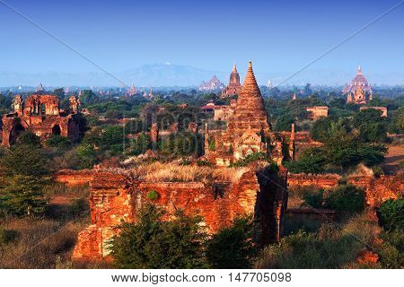 View of Bagan archaeological zone in Myanmar.